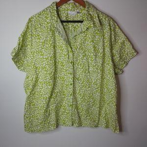 Kim Rogers Linen Lime Flower Burst Top 2X Plus